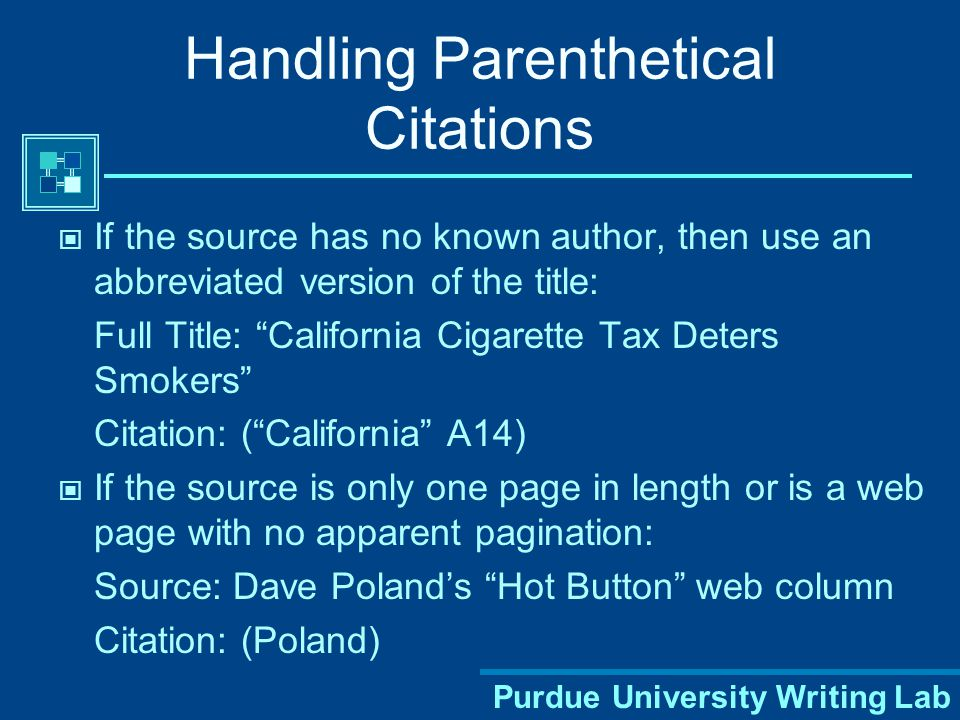 Purdue University Writing Lab Sometimes more information is necessary More than one author with the same last name (W.