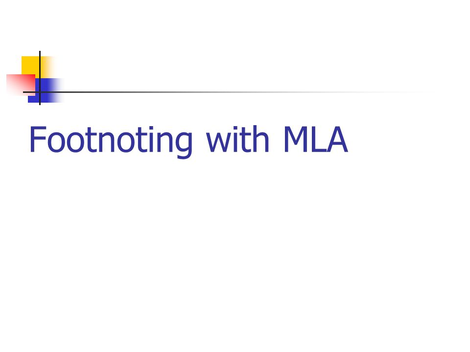 Footnoting with MLA