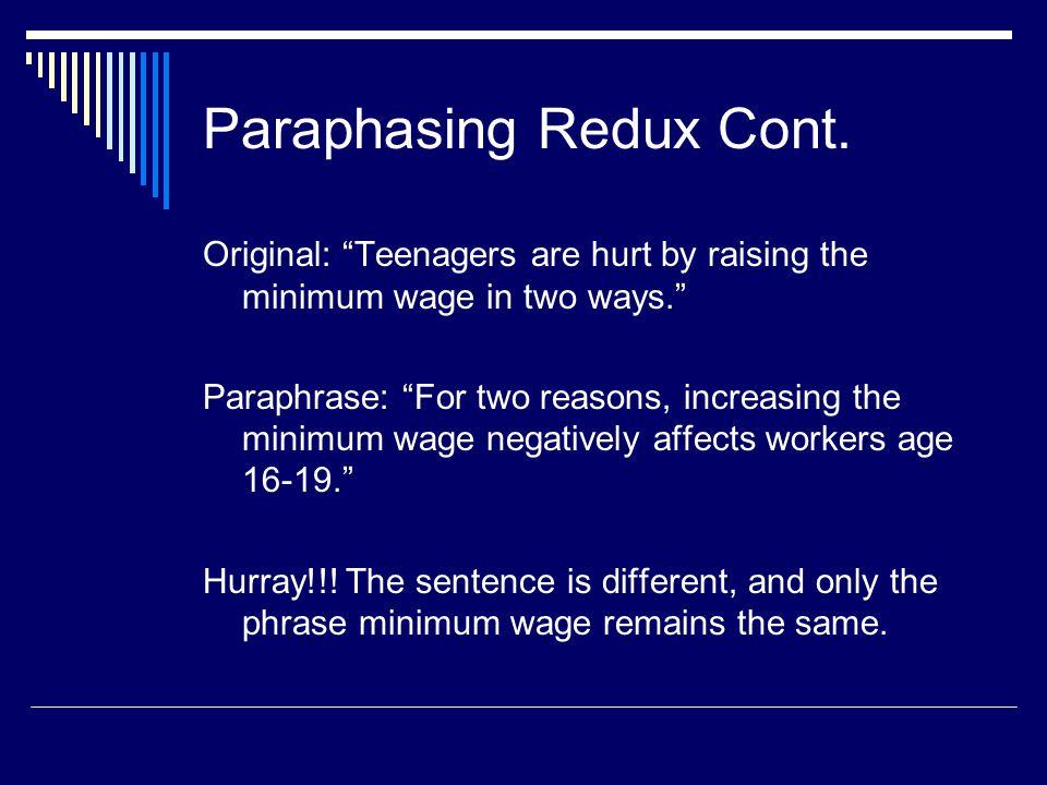 Paraphasing Redux Cont.