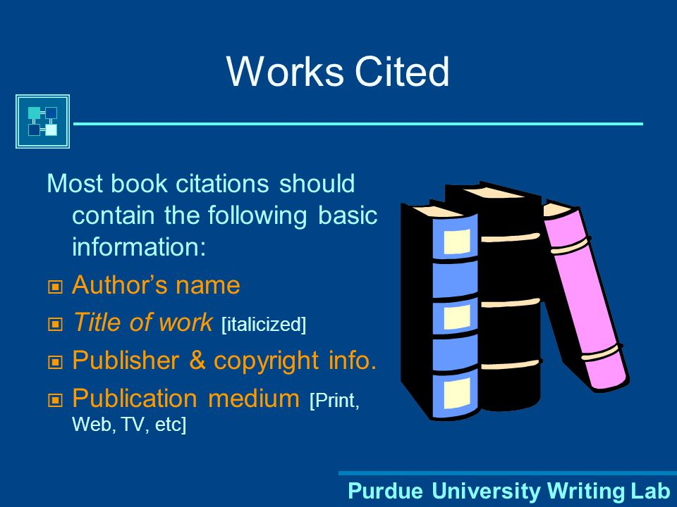 Purdue University Writing Lab A Sample Works Cited Page Smith 12 Works Cited Dickens, Charles. Bleak House. 1852-1853. New York: Penguin, 1985. Print.
