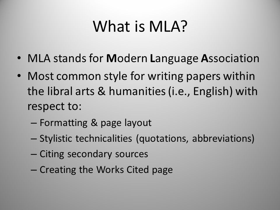 What is MLA.