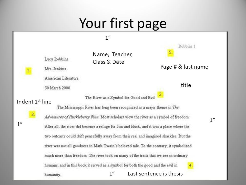 Your first page Name, Teacher, Class & Date title Indent 1 st line Last sentence is thesis Page # & last name 1