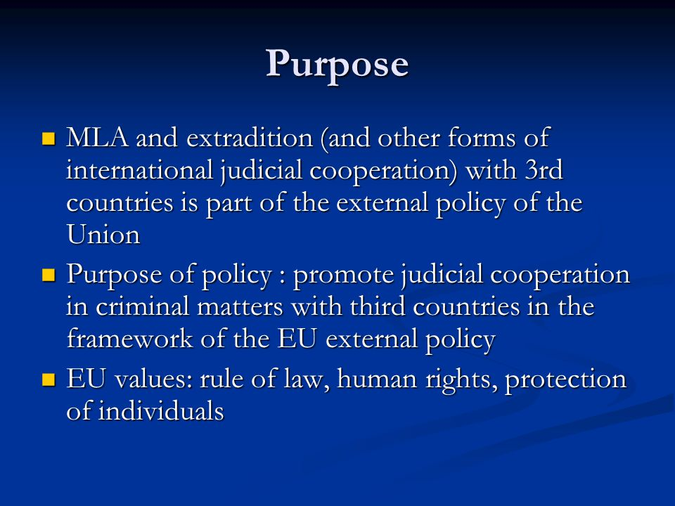 Guidelines suggested at the Council in June 2008 Political and economical importance of the country Political and economical importance of the country The added value of an agreement as compared to the existing legal framework The added value of an agreement as compared to the existing legal framework The legal standards of the country concerned The legal standards of the country concerned → The rule of law, issue of prohibition of the death penalty must be strictly ensured in the Agreement
