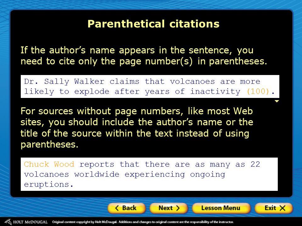 Parenthetical citations Dr.