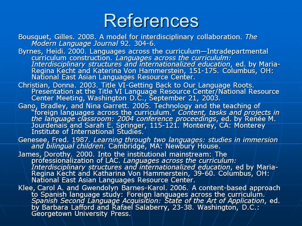 References Bousquet, Gilles. 2008. A model for interdisciplinary collaboration.