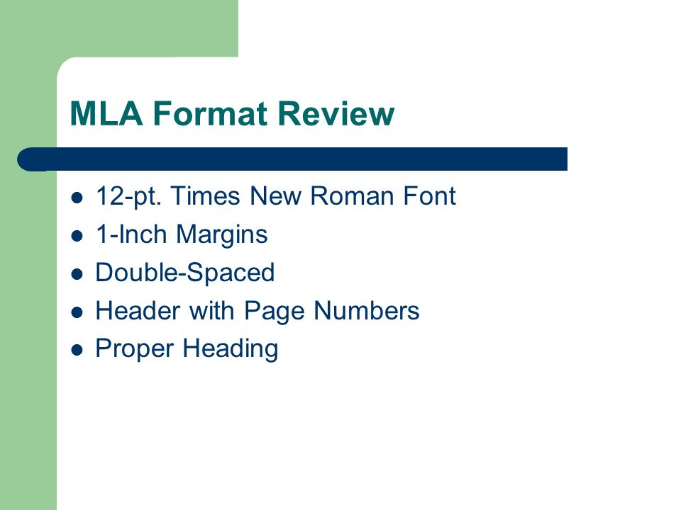 MLA Format Review 12-pt.