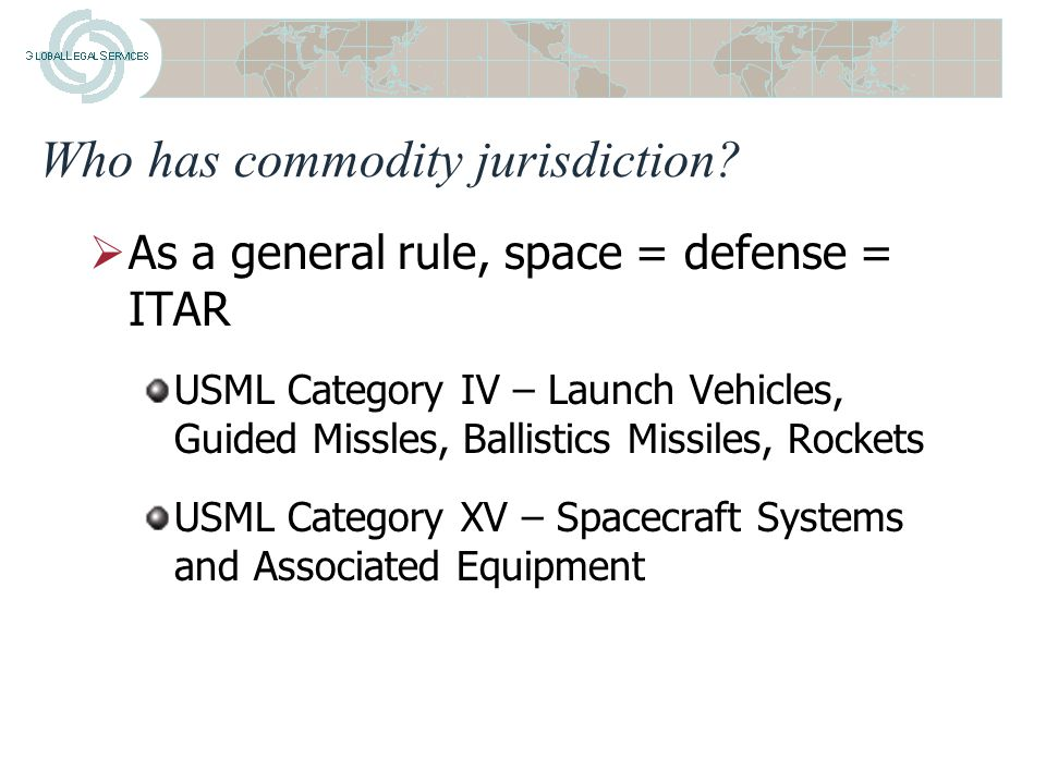 Classifying Spacecraft, Launch Vehicles, and Associated Equipment under U.S.