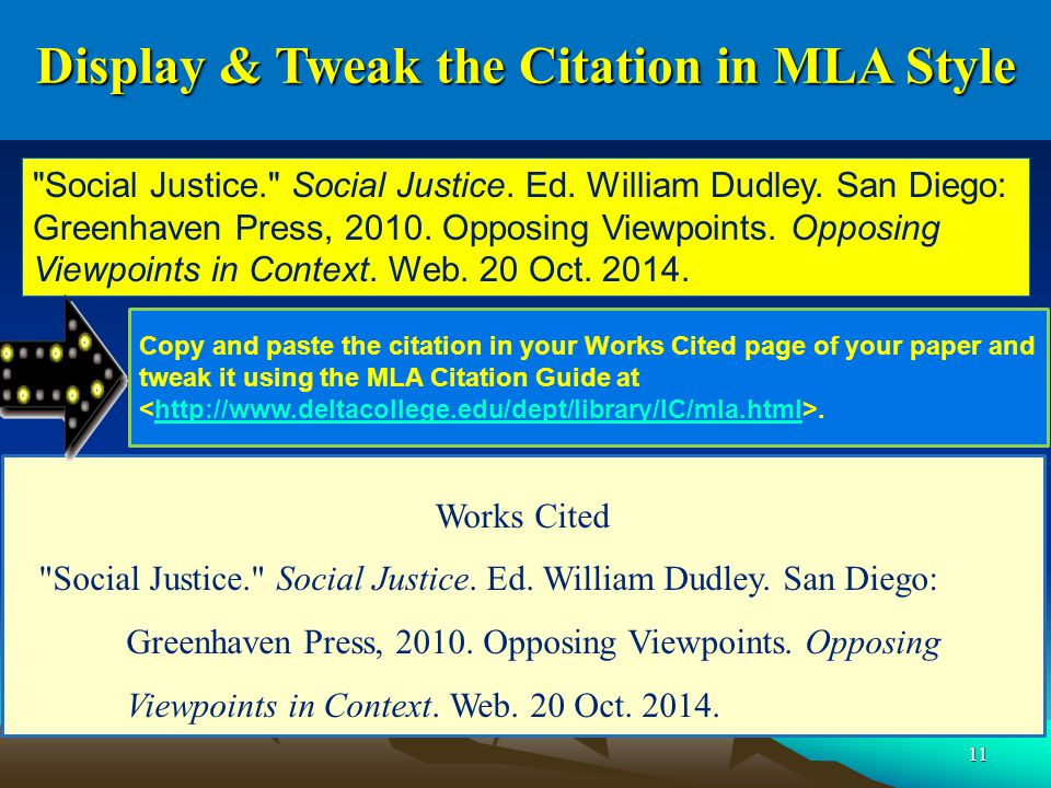 11 Display & Tweak the Citation in MLA Style Works Cited Social Justice. Social Justice.