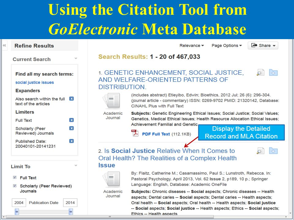 12 Display the Detailed Record and MLA Citation Using the Citation Tool from GoElectronic Meta Database
