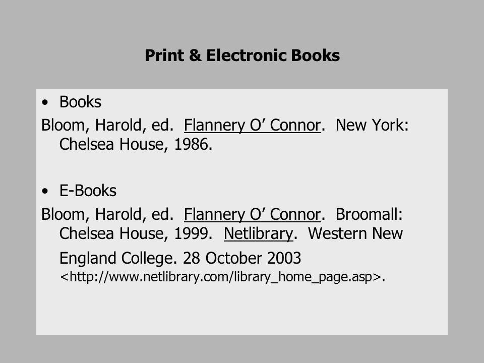 Print & Electronic Books Books Bloom, Harold, ed. Flannery O' Connor.