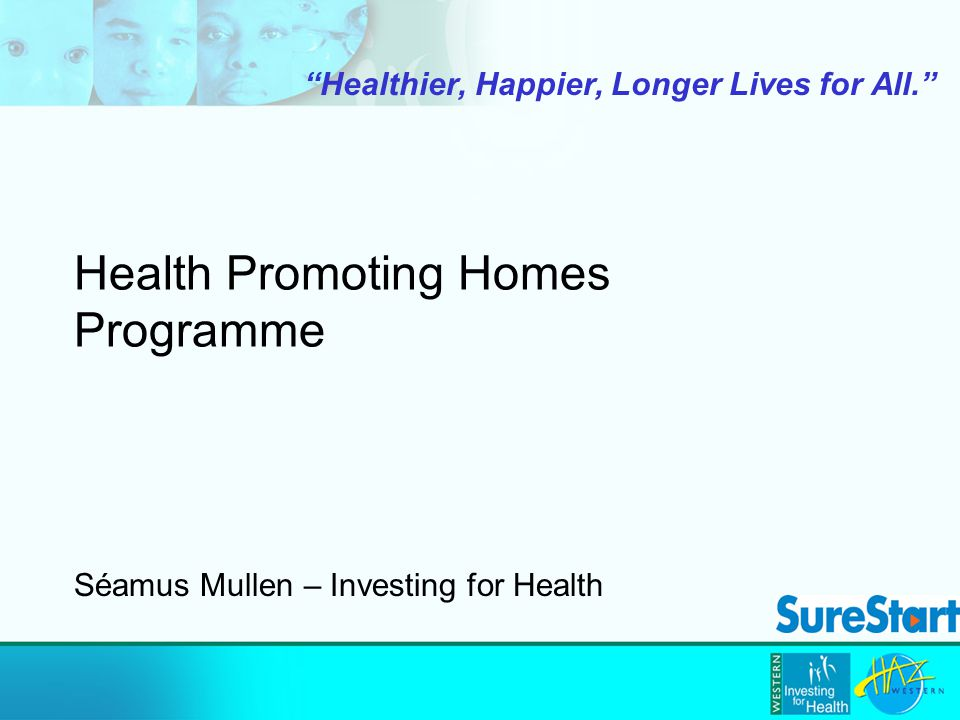 Health Promoting Homes Programme Healthier, Happier, Longer Lives for All. Séamus Mullen – Investing for Health