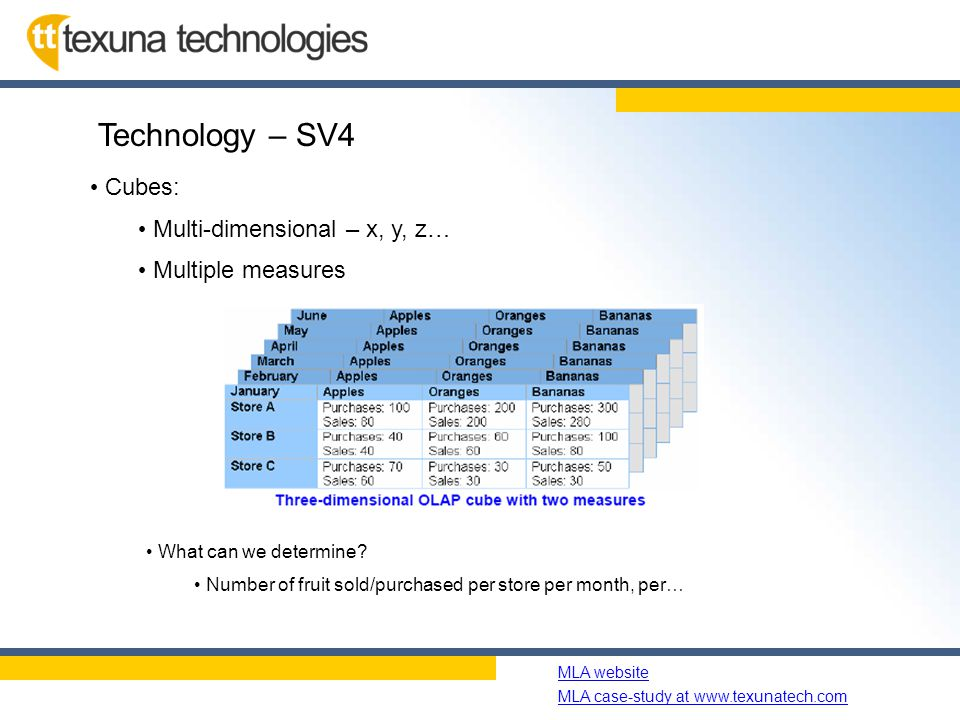 Name of slide show MLA website MLA case-study at www.texunatech.com Technology – SV4 Cubes: Multi-dimensional – x, y, z… Multiple measures What can we determine.