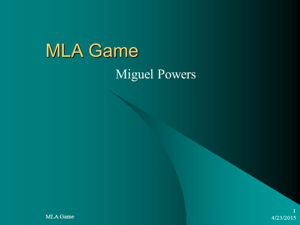 4/23/2015 MLA Game 1 Miguel Powers