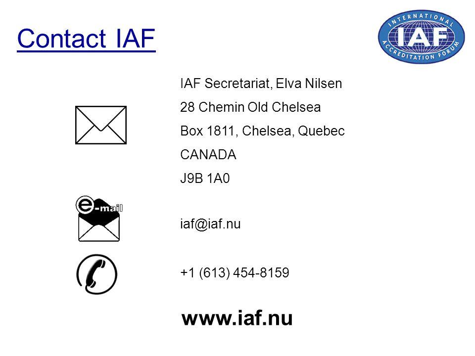 Contact IAF IAF Secretariat, Elva Nilsen 28 Chemin Old Chelsea Box 1811, Chelsea, Quebec CANADA J9B 1A0 +1 (613) 454-8159 iaf@iaf.nu www.iaf.nu