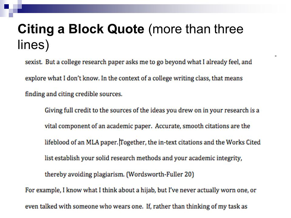 Citing a Block Quote (more than three lines)