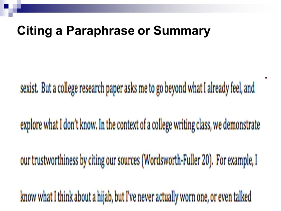 Citing a Paraphrase or Summary