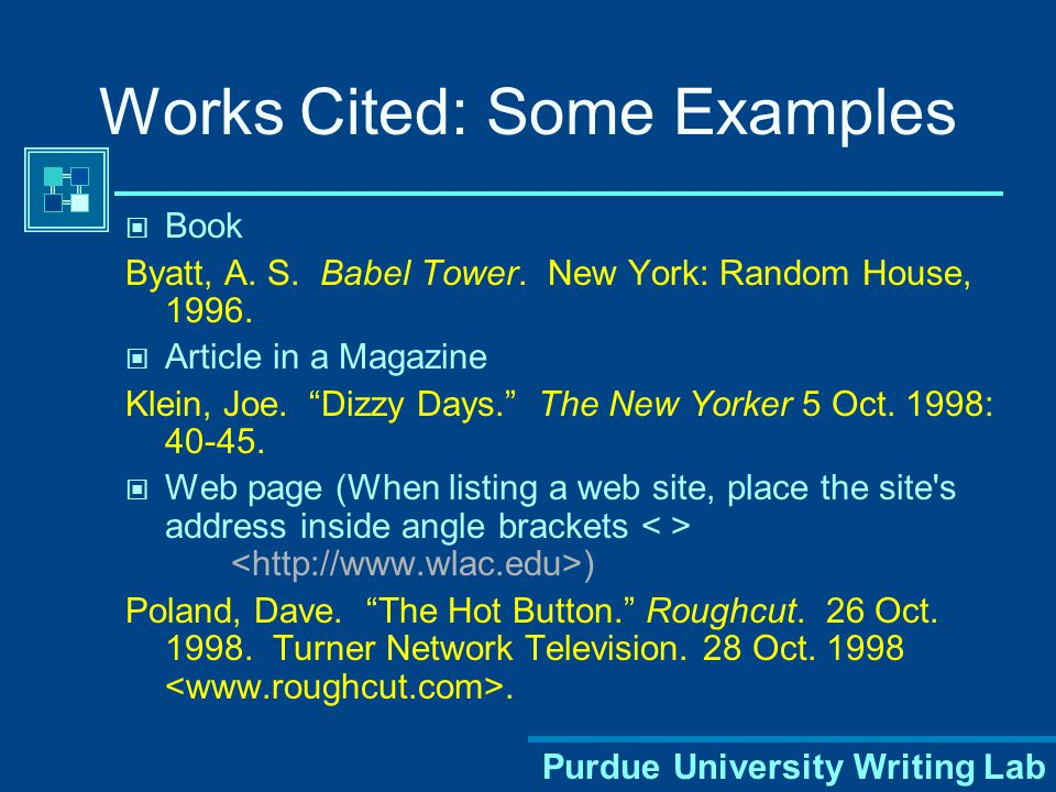 Sample Works Cited Page Sources are listed alphabetically Indent all lines after the first ½ inch for each work listed The entire Works Cited page is double-spaced Title Works Cited is centered at the top of the page