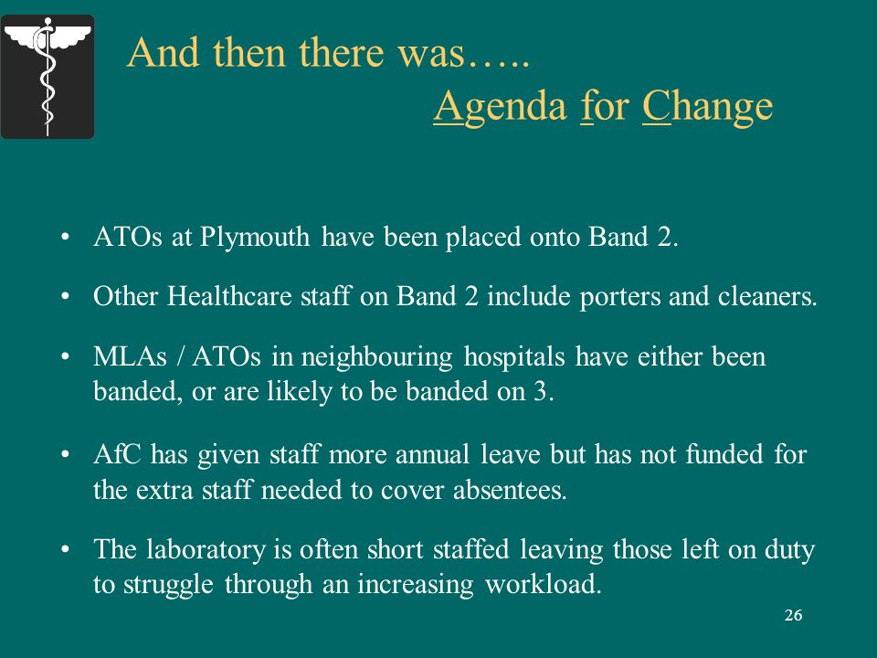 26 And then there was….. Agenda for Change ATOs at Plymouth have been placed onto Band 2.
