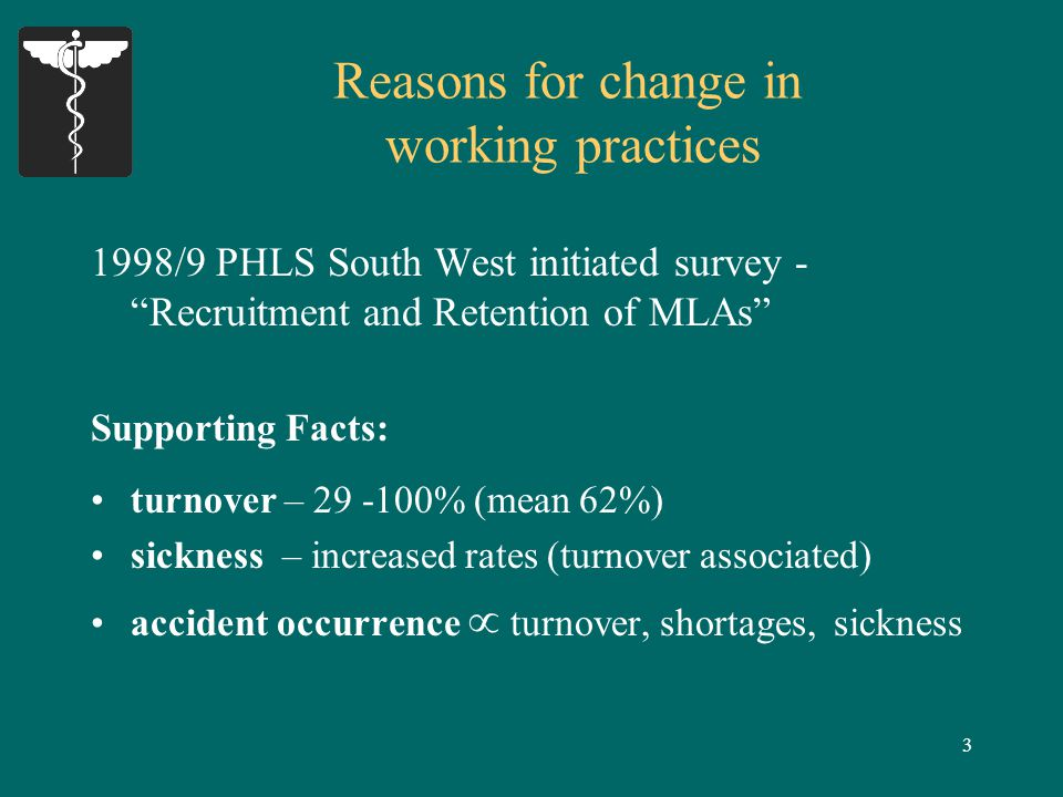 3 Reasons for change in working practices 1998/9 PHLS South West initiated survey - Recruitment and Retention of MLAs Supporting Facts: turnover – 29 -100% (mean 62%) sickness – increased rates (turnover associated) accident occurrence  turnover, shortages, sickness