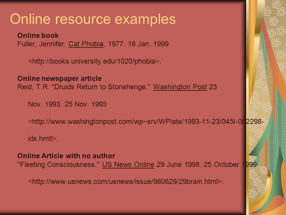 Online resource examples Online book Fuller, Jennifer.