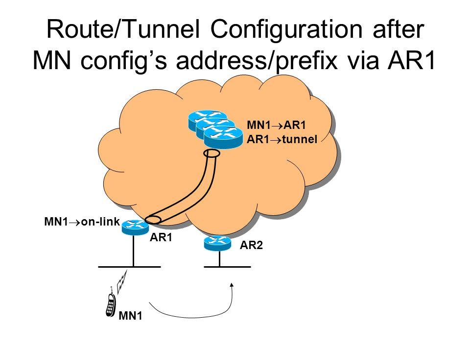 Route/Tunnel Configuration after MN config's address/prefix via AR1 MN1 AR1 MN1  AR1 AR1  tunnel MN1  on-link AR2