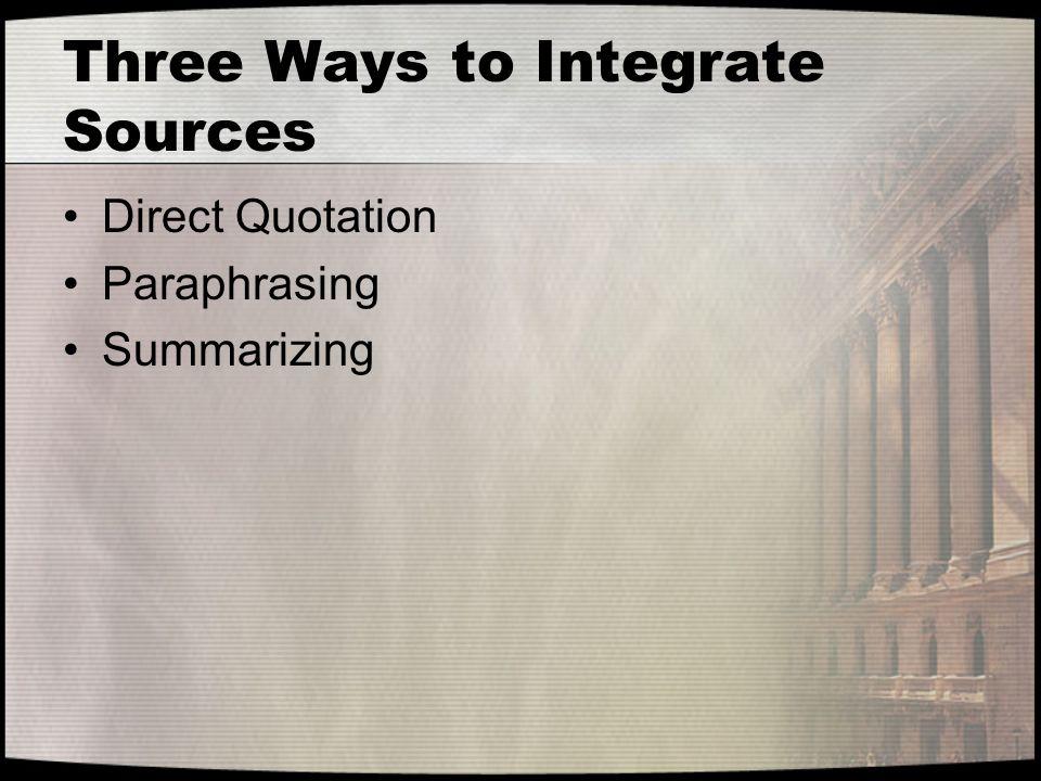 Three Ways to Integrate Sources Direct Quotation Paraphrasing Summarizing