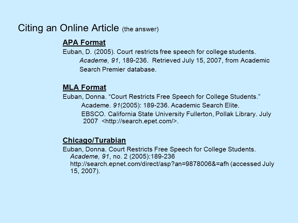 Citing an Online Article (the answer) APA Format Euban, D.