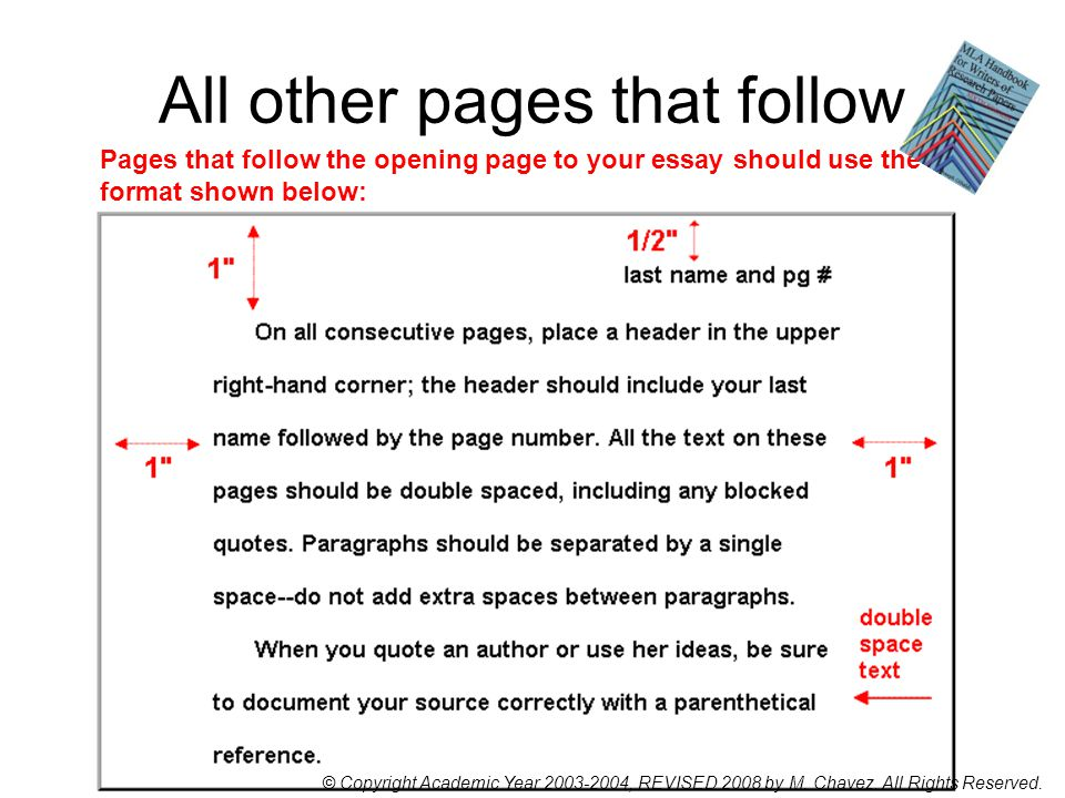 All other pages that follow Pages that follow the opening page to your essay should use the format shown below: © Copyright Academic Year 2003-2004, REVISED 2008 by M.