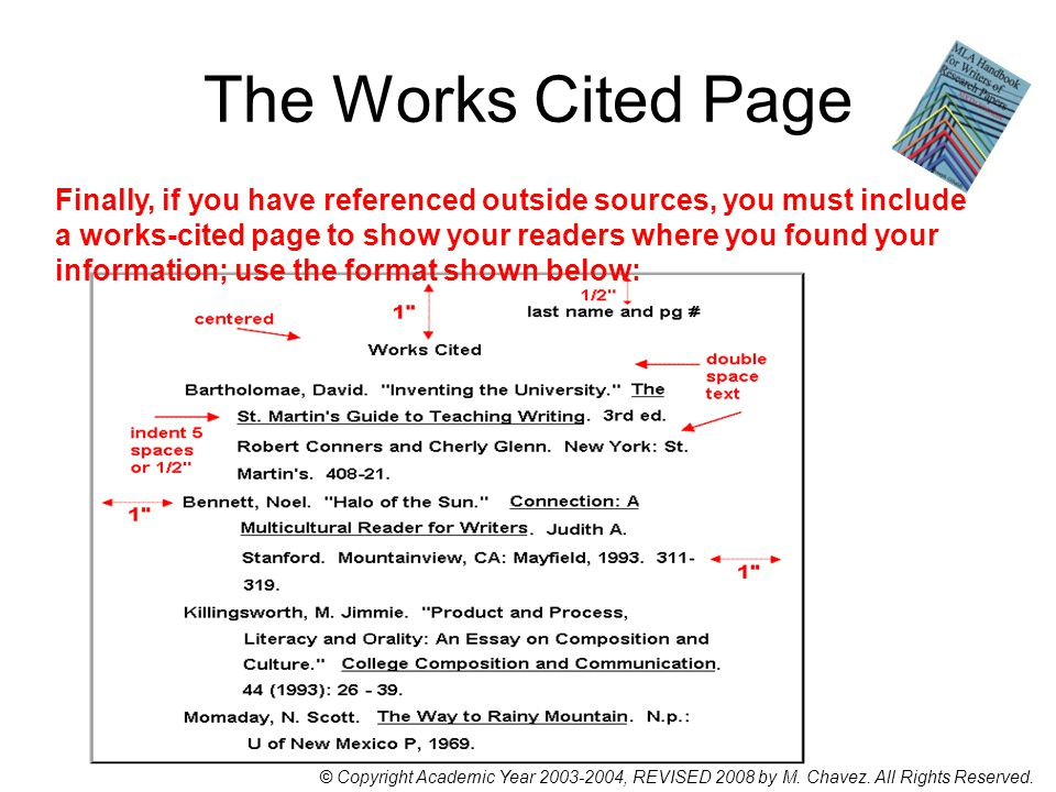 The Works Cited Page Finally, if you have referenced outside sources, you must include a works-cited page to show your readers where you found your information; use the format shown below: © Copyright Academic Year 2003-2004, REVISED 2008 by M.