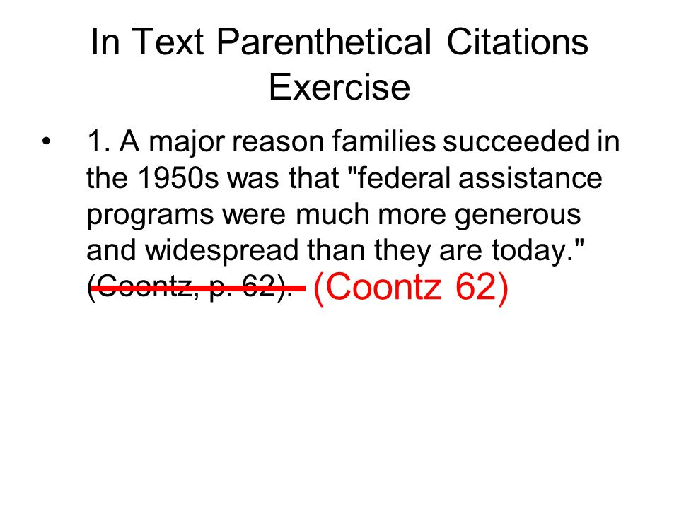 In Text Parenthetical Citations Exercise 1.