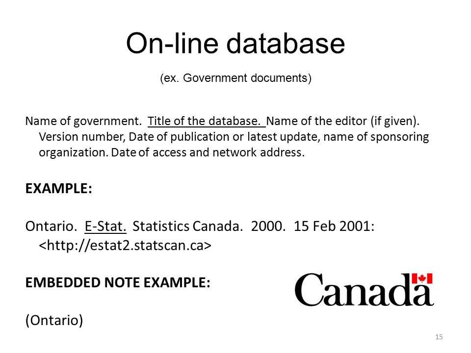 On-line database (ex. Government documents) Name of government.