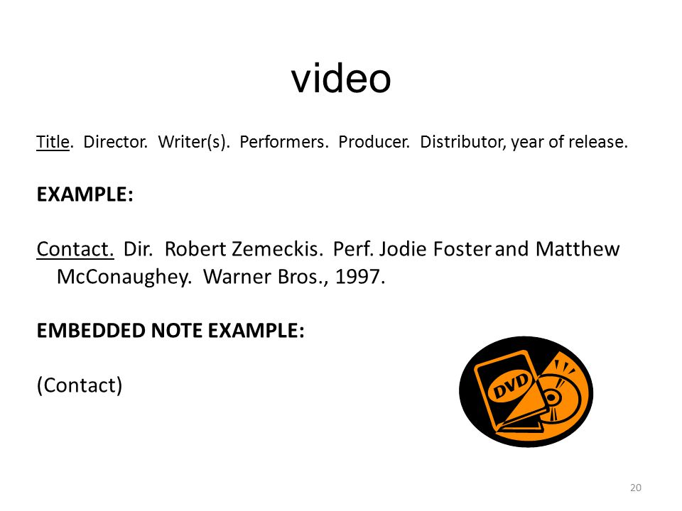 video Title. Director. Writer(s). Performers. Producer.