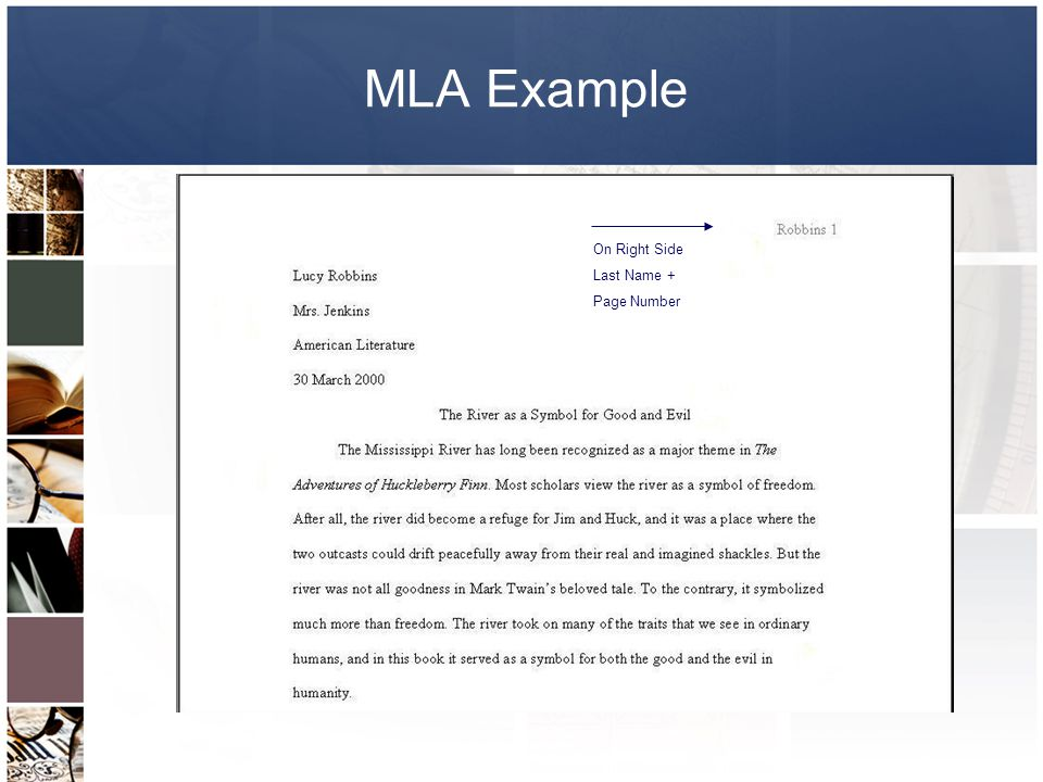 MLA Example On Right Side Last Name + Page Number