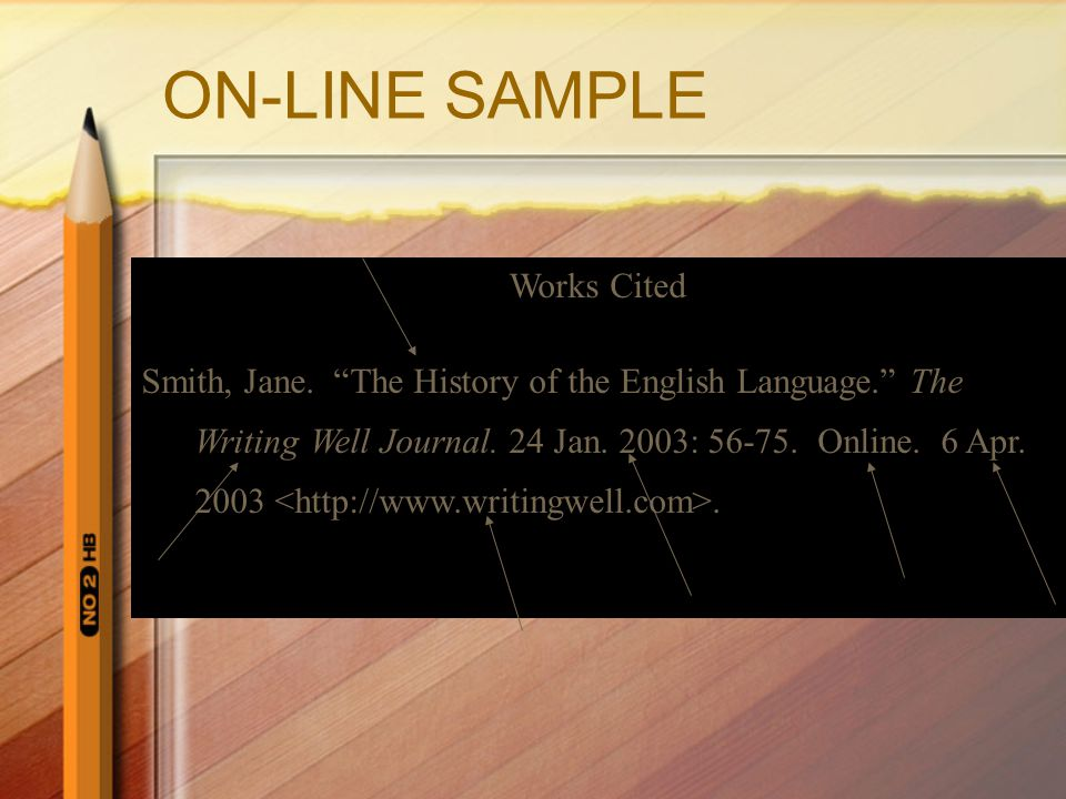 ON-LINE SAMPLE Works Cited Smith, Jane.