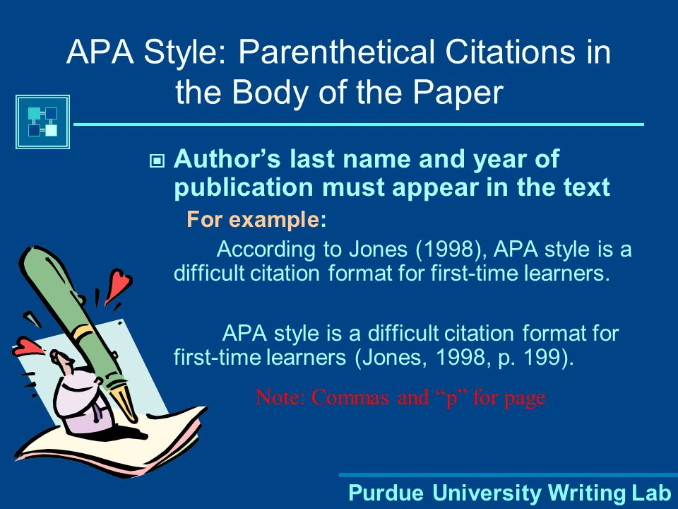 Purdue University Writing Lab APA Style: Parenthetical Citations in the Body of the Paper When summarizing facts and ideas from a source  Summarizing means to take ideas from a large passage of another source and condense them, using your own words When paraphrasing a source  Paraphrasing means to use the ideas from another source but change the phrasing into your own words— using a thesaurus to change a few key words does not count!