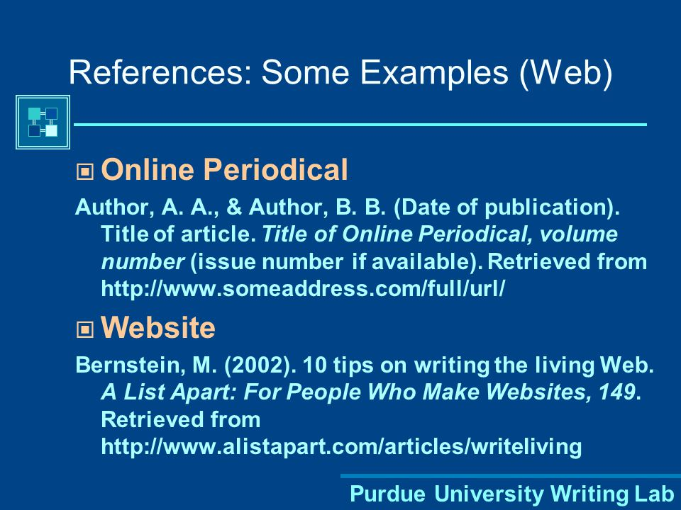 Purdue University Writing Lab Book Author, A. A. (Year of publication). Title of work: Capital letter also for subtitle. Location: Publisher. An Entry