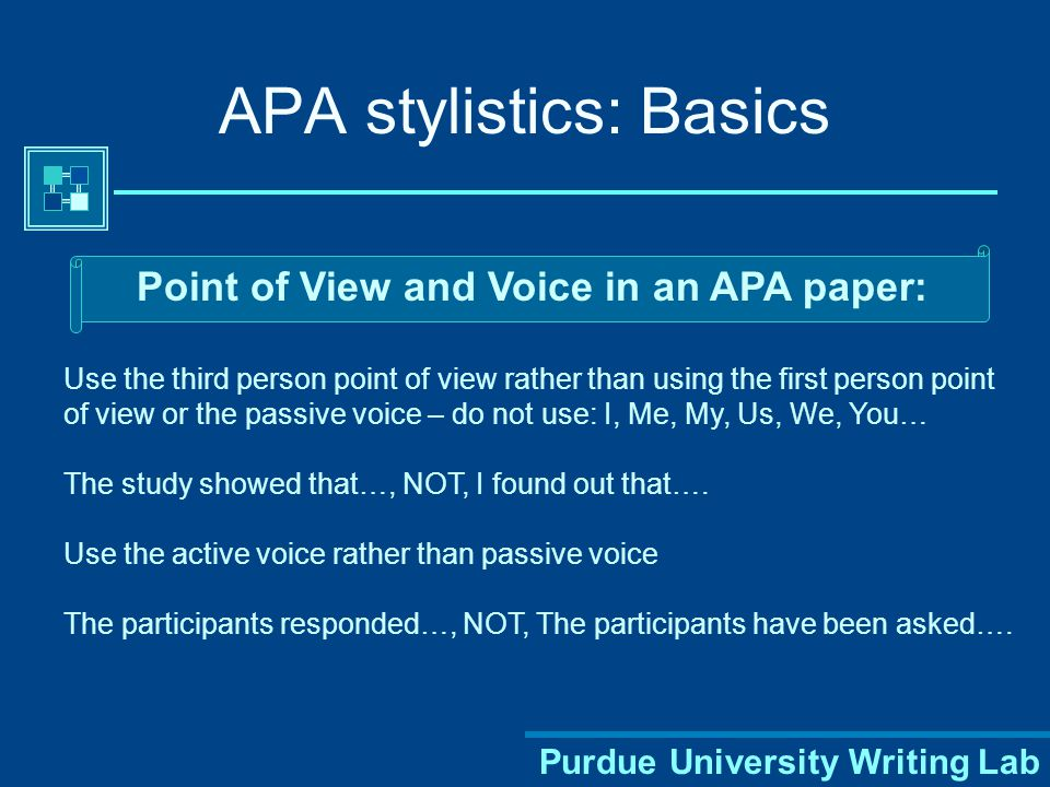 Purdue University Writing Lab APA Style: General Guidelines Your essay should be:  typed,  double-spaced on standard-sized paper (8.5 x 11 )  with 1 margins on all sides.