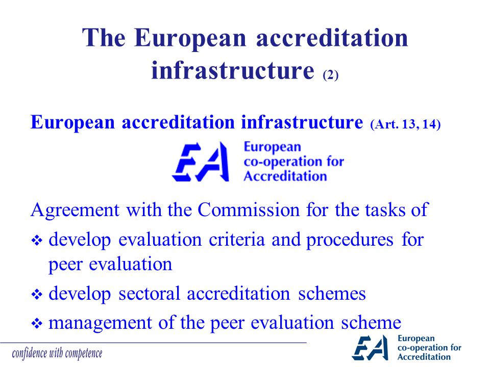 The European accreditation infrastructure (2) European accreditation infrastructure (Art. 13, 14) Agreement with the Commission for the tasks of  dev