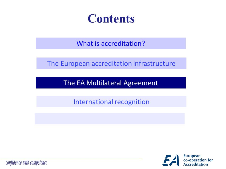 Contents What is accreditation? The European accreditation infrastructure The EA Multilateral Agreement International recognition