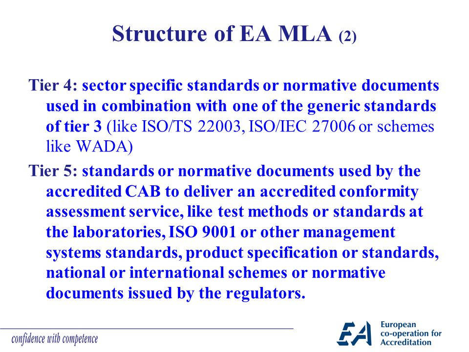 Structure of EA MLA (2) Tier 4: sector specific standards or normative documents used in combination with one of the generic standards of tier 3 (like