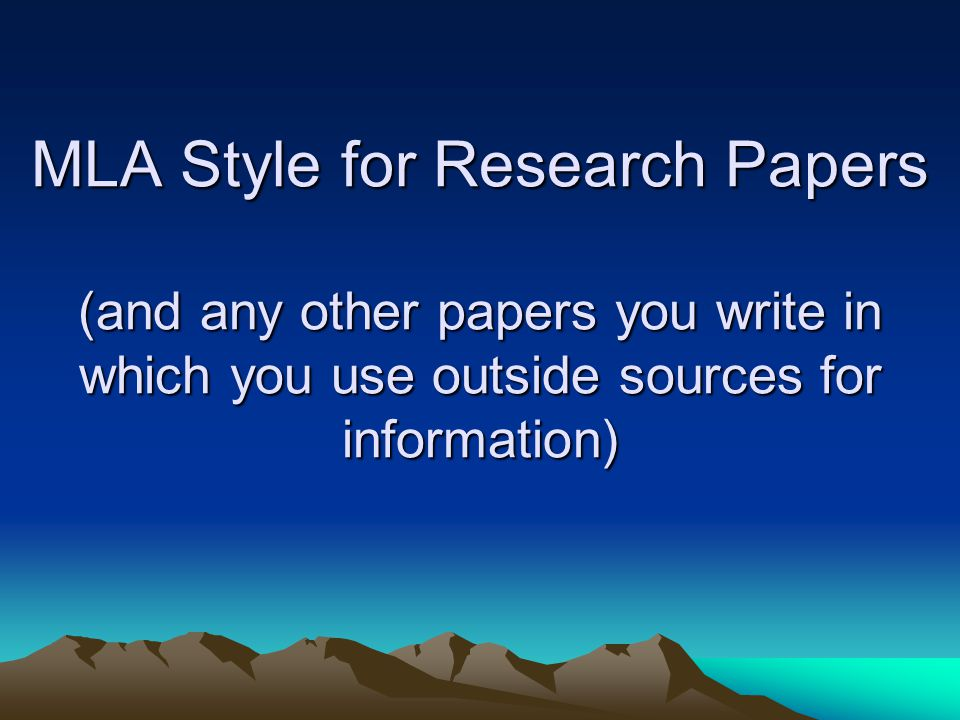 mla style for research papers Mla (modern language association) style is most commonly used to write papers and cite sources within the liberal arts and humanities this resource, updated to reflect the mla handbook (8th ed), offers examples for the general format of mla research papers, in-text citations, endnotes/footnotes, and the works cited page.