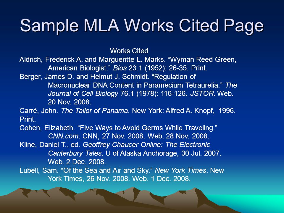 Sample MLA Works Cited Page Works Cited Aldrich, Frederick A.