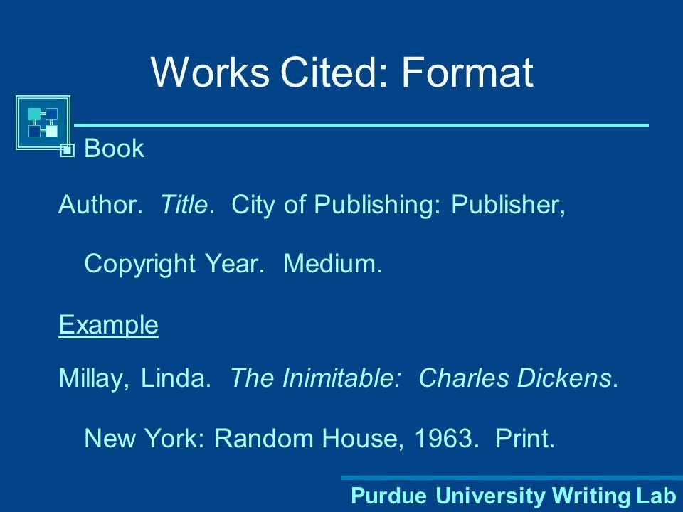 Purdue University Writing Lab Use Times Roman 12 pt.