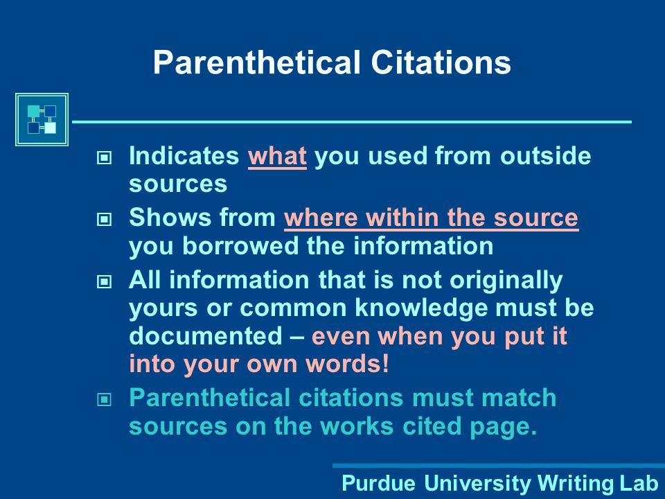 Purdue University Writing Lab Study the basics of MLA citation format.