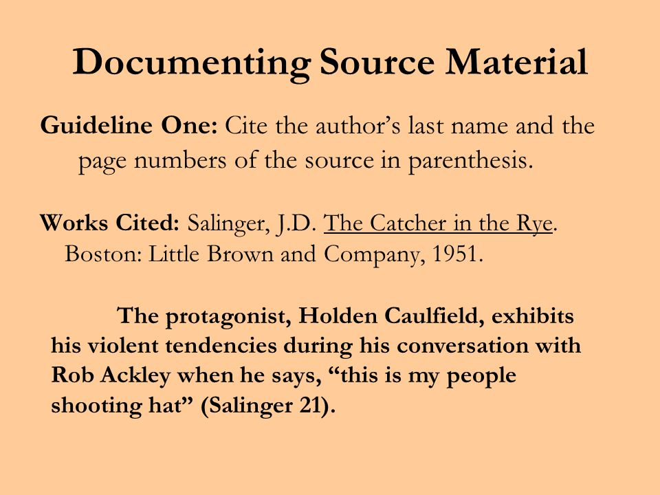 Documenting Source Material The basic purpose of parenthetical reference is to document a source with brief accuracy.