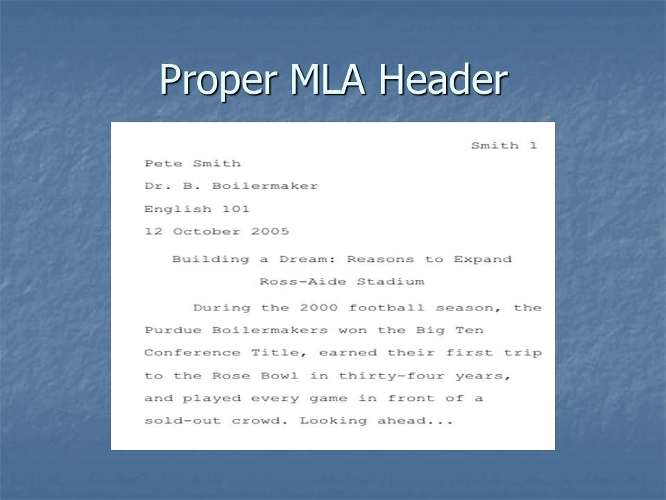 Proper MLA Header