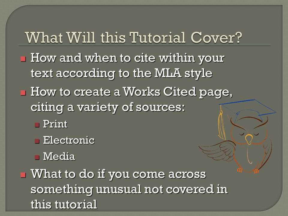 How and when to cite within your text according to the MLA style How and when to cite within your text according to the MLA style How to create a Work