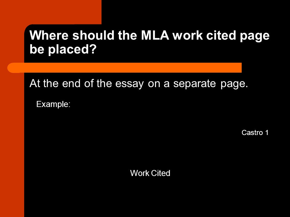 Where should the MLA work cited page be placed. At the end of the essay on a separate page.