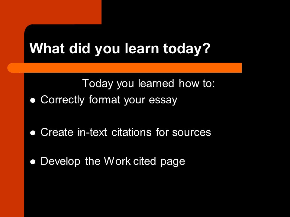 What did you learn today.