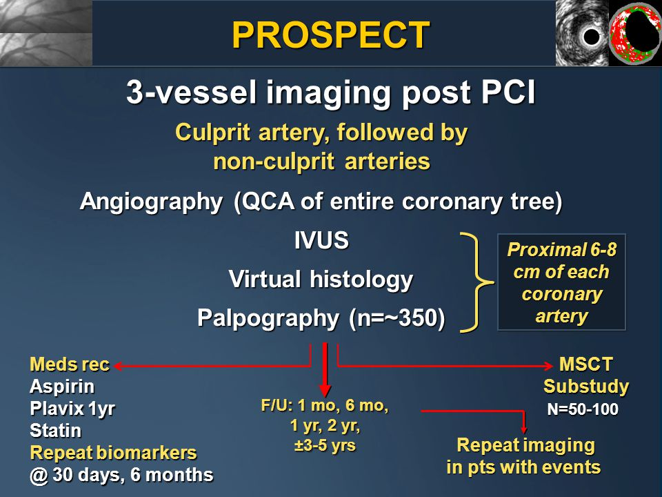 3-vessel imaging post PCI Culprit artery, followed by non-culprit arteries Angiography (QCA of entire coronary tree) IVUS Virtual histology Palpography (n=~350) Repeat imaging in pts with events Meds rec Aspirin Plavix 1yr Statin Repeat biomarkers @ 30 days, 6 months Proximal 6-8 cm of each coronary artery MSCTSubstudyN=50-100 F/U: 1 mo, 6 mo, 1 yr, 2 yr, ±3-5 yrs F/U: 1 mo, 6 mo, 1 yr, 2 yr, ±3-5 yrs PROSPECT